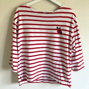 Levi's Striped 3/4 Sleeve Top w/ Rose Patch